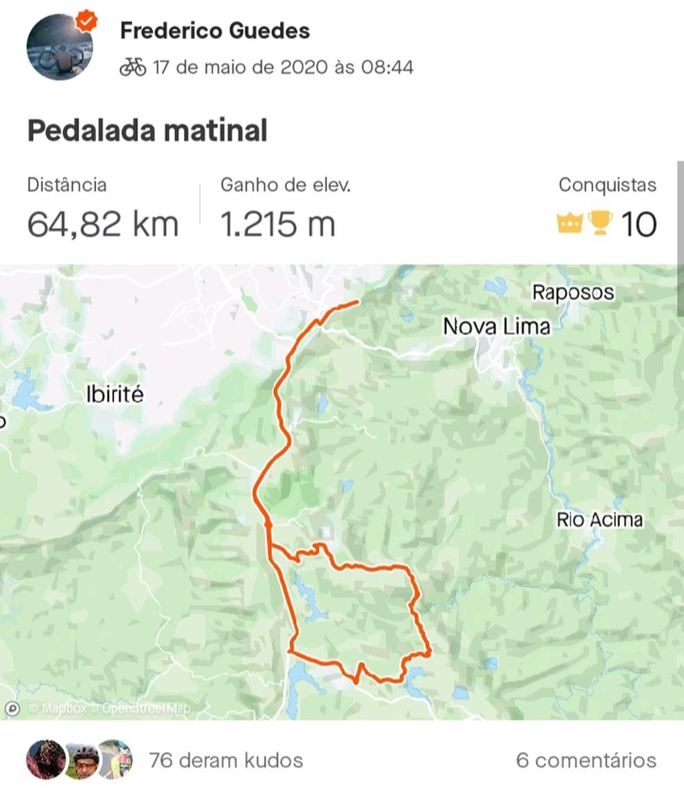 Fred já vinha pedalando mais de 50 km diariamente em seus treinos em MG — Foto: Divulgação / Strava