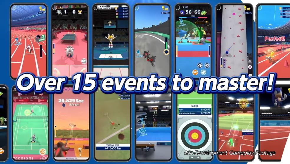 São mais de 15 modalidades olímpicas disponíveis em Sonic at the Olympic Games - Tokyo 2020. — Foto: Reprodução/SEGA