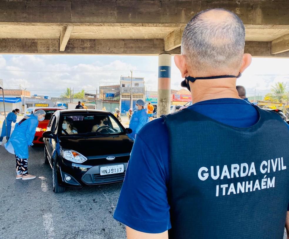 Prefeitura de Itanhaém, SP, faz bloqueio a moradores e turistas durante feriado — Foto: Divulgação / Prefeitura de Itanhaém