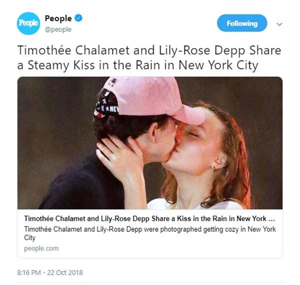 Lily-Rose Depp e Timothee Chalamet (Foto: Twitter)