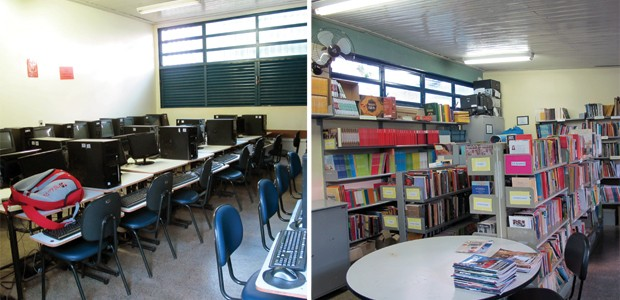 Sala de informática do CEF do Caub 1 e vista geral da biblioteca da escola (Foto: Jamila Tavares / G1)