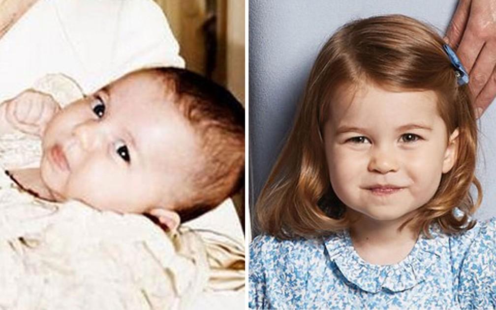 A Princesa Charlotte, aos dois meses no dia de seu batizado, e em foto de dezembro de 2017 (Foto: Divulgação/ Palácio de Kensington)