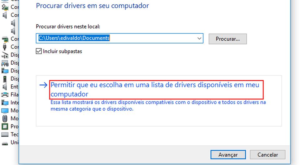 Clicando na opção que permite escolher o driver em uma lista — Foto: Edivaldo Brito/TechTudo