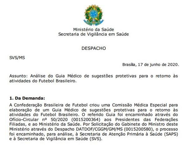 Despacho é assinado eletronicamente por secretário do Ministério da Saúde — Foto: Reprodução