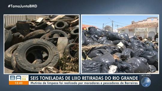 Seis toneladas de lixo são retiradas de rio em Barreiras, na Bahia