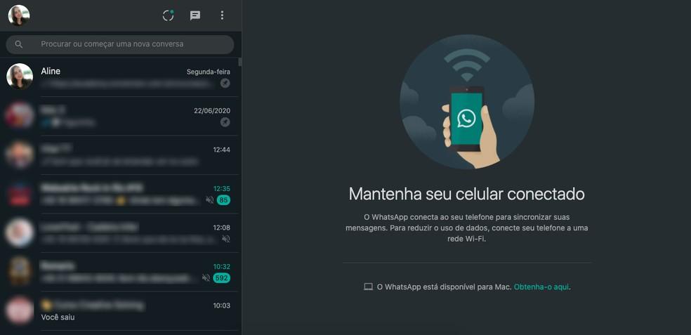 WhatsApp Web com tema escuro — Foto: Reprodução/Aline Batista