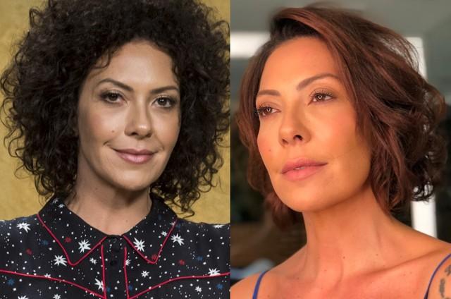 Fabiula Nascimento antes e depois de cortar os cabelos (Foto: Divulgação / TV Globo)