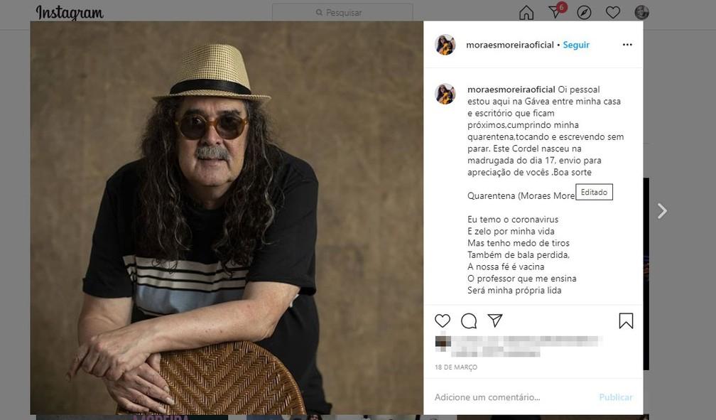 Última postagem de Moraes Moreira no instagram.  — Foto: Reprodução / Redes Sociais