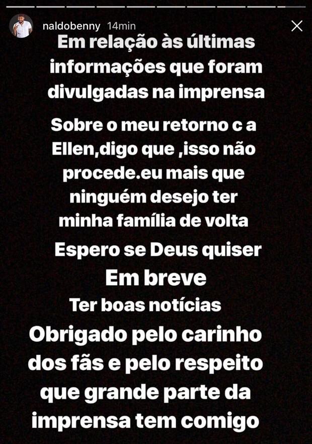 Publicação de Naldo negando que reatou a relação com Mulher Moranguinho (Foto: Reprodução/Instagram)