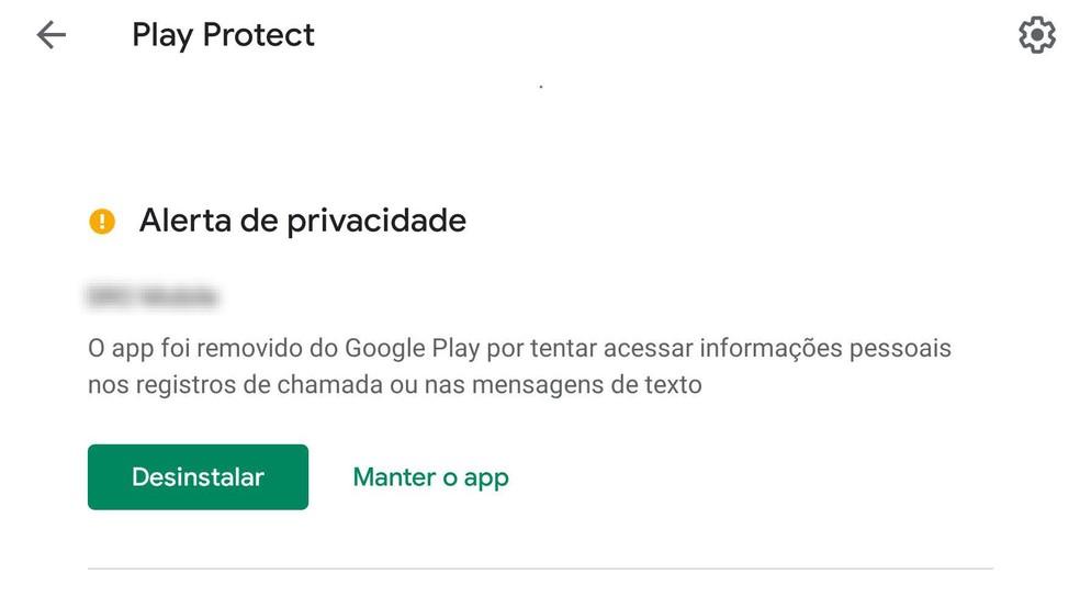 Exemplo de alerta do Play Protect, o sistema de segurança incluso no Android. — Foto: Reprodução