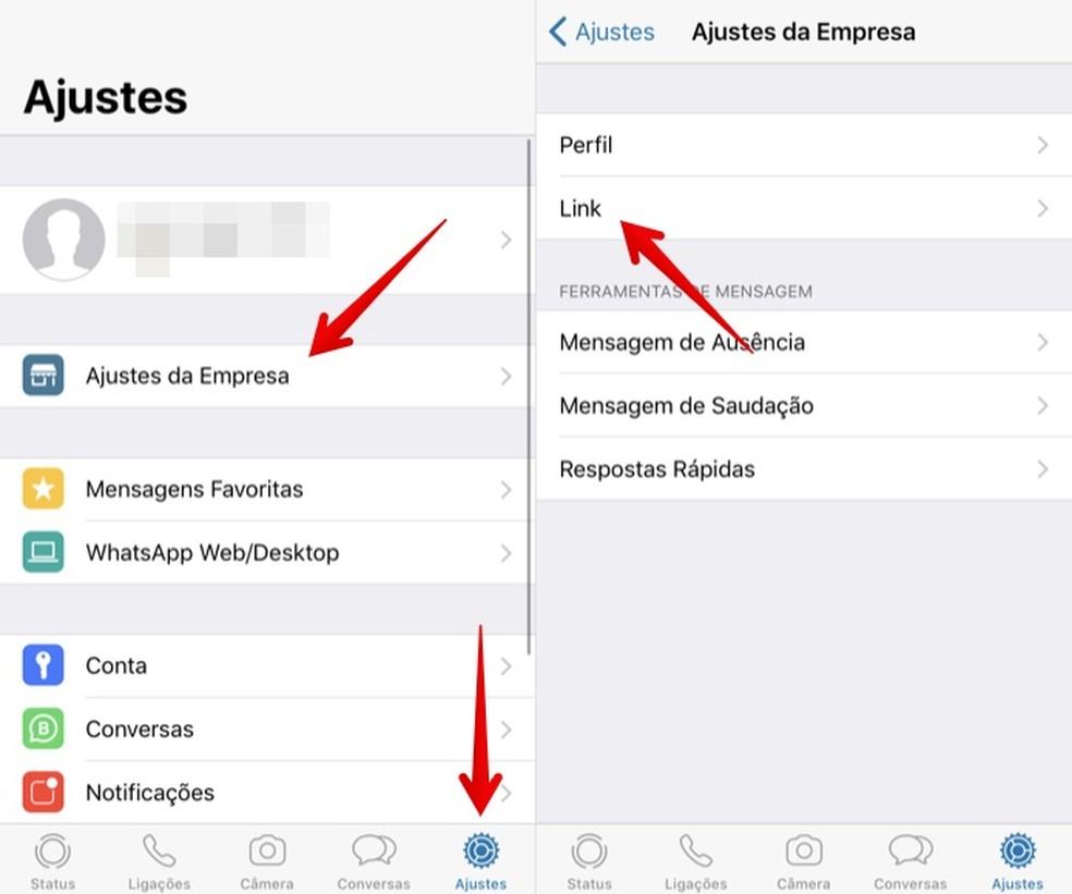 Acesse as configurações do WhatsApp Business — Foto: Reprodução/Helito Beggiora