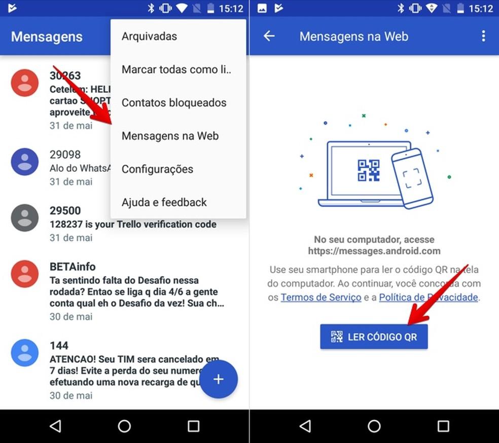 Ativando o Android Mensagens na Web (Foto: Reprodução/Helito Bijora)