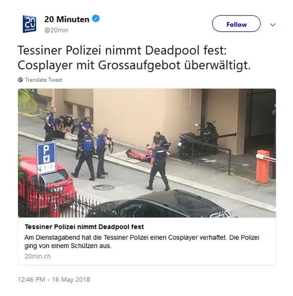 Ação da polícia suíça em exibição de Deadpool 2 (Foto: Twitter)