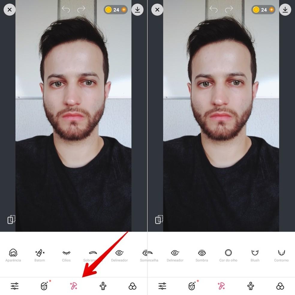 Aplicando maquiagem em selfies — Foto: Reprodução/Helito Beggiora