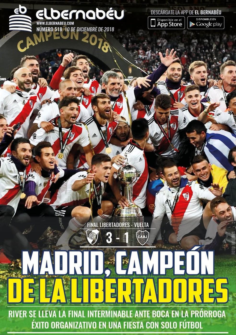 Manchete do Bernabeu após final da Libertadores — Foto: Reprodução / Instagram