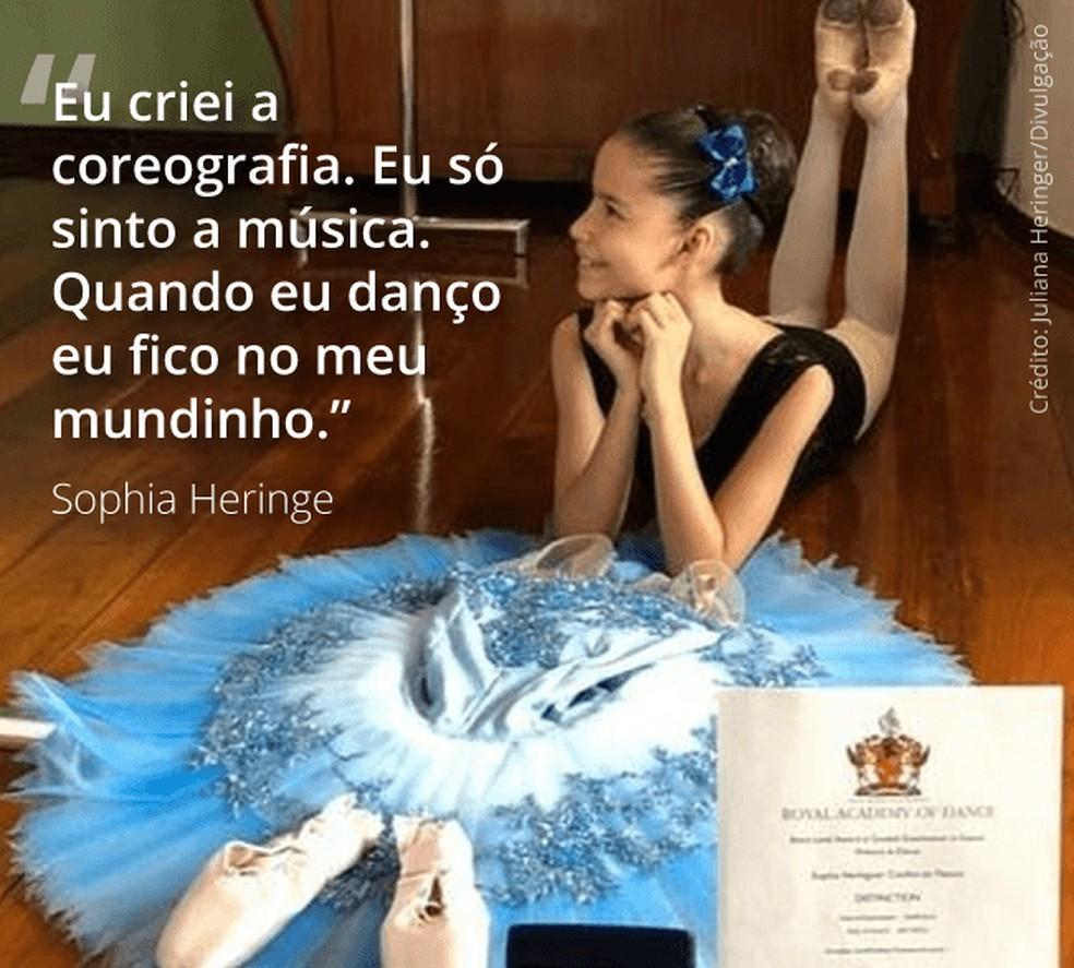 Sophia Heringer venceu concurso de balé sem sair de casa — Foto:  Juliana Heringer/Divulgação