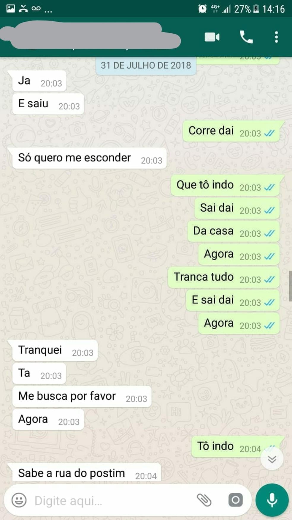 Patrícia pediu ajuda a amiga antes de ser morta (Foto: Reprodução/Whatsapp)