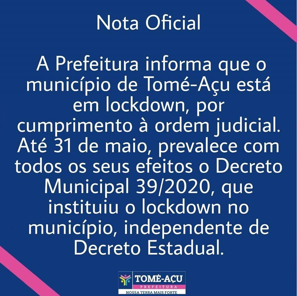 Tomé-Açu, no nordeste do estado, mantém lockdown