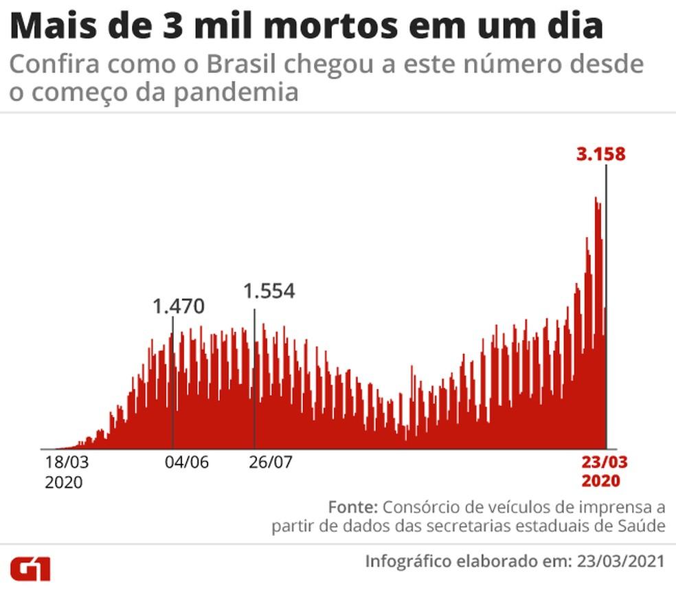 Curva mostra mortes registradas por dia desde o início da pandemia, até a marca de 3.158, mais alta até aqui — Foto: Editoria de Arte/G1