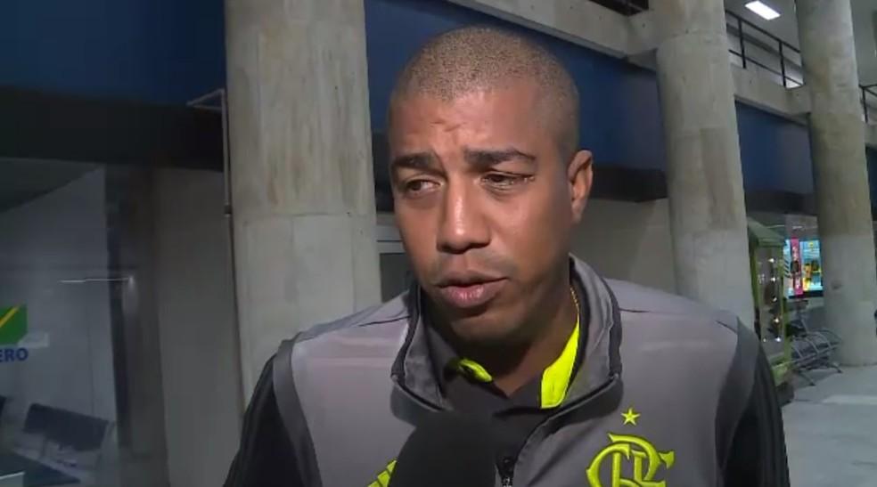 Marcelo Salles deu a última entrevista como técnico do Flamengo — Foto: Reprodução/TV Globo