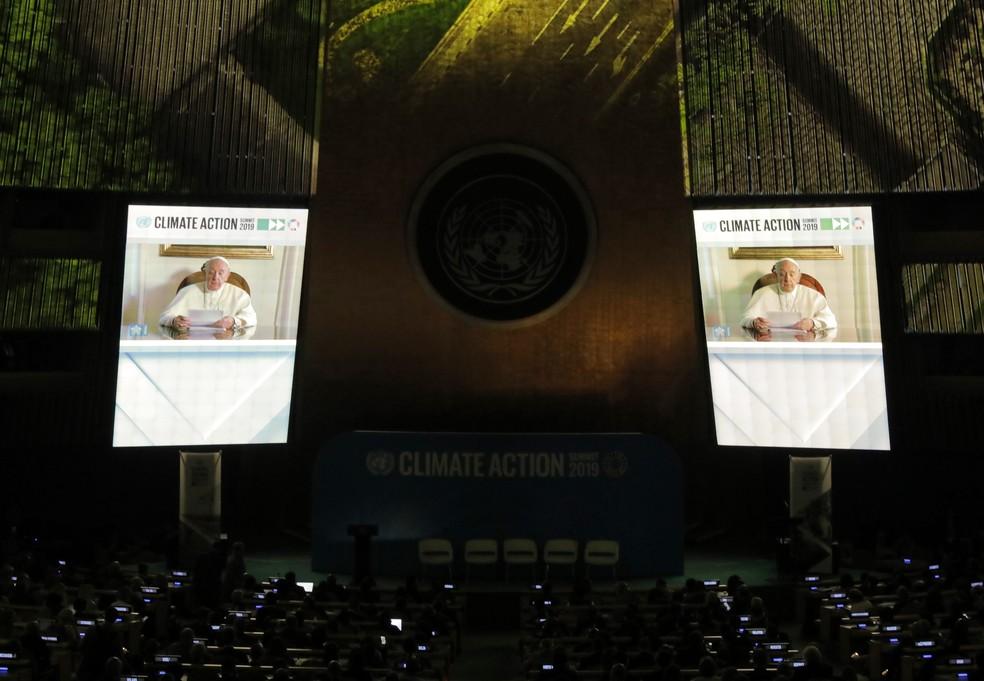 Papa Francisco participa por videoconferência de Cúpula do Clima da ONU. — Foto: Lucas Jackson/Reuters