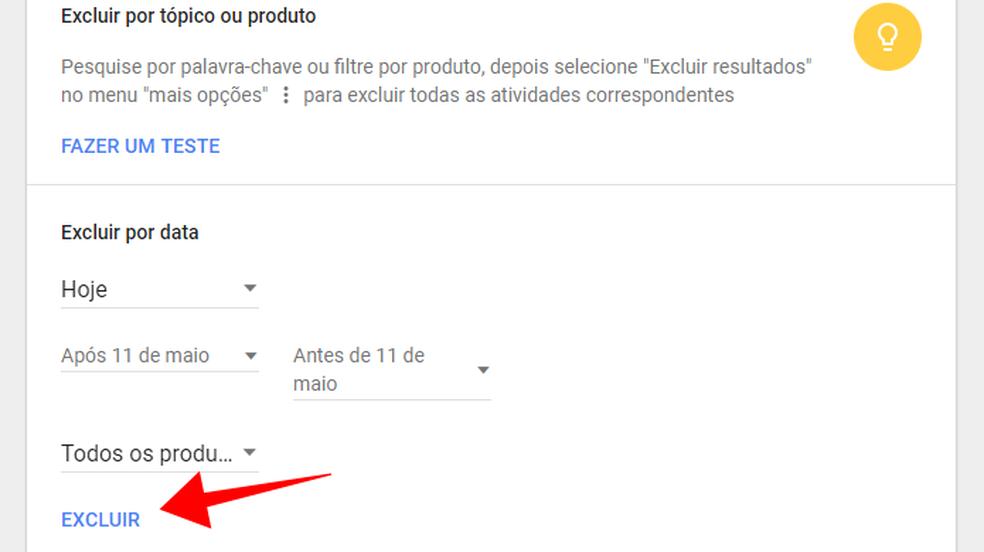 Google segue permitindo encontrar e apagar histórico por tópico, data ou produto (Foto: Reprodução/Paulo Alves)