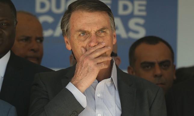 O presidente eleito Jair Bolsonaro em inauguração em Caxias