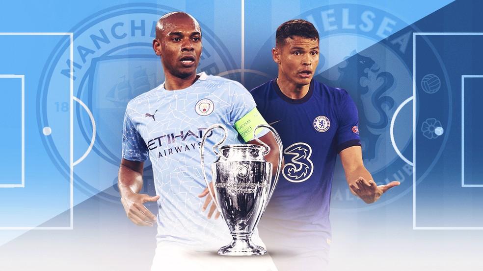 Carrossel Fernandinho Thiago Silva Manchester City x Chelsea — Foto: Infoesporte/ge.globo