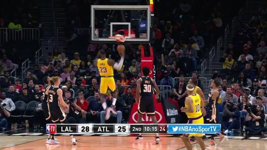 LeBron comanda os Lakers, que vencem os Hawks fora e chegam a sete vitórias seguidas na NBA