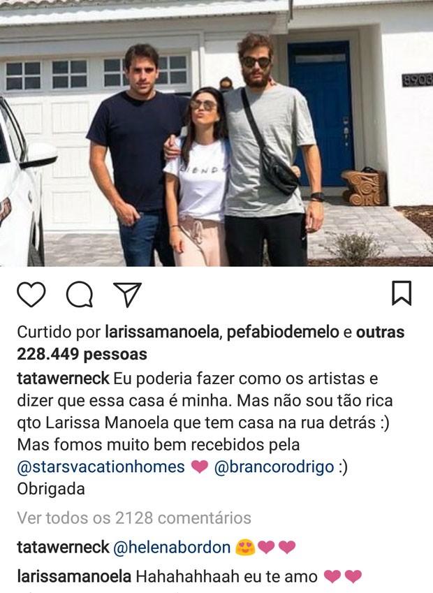 Larissa Manoela comenta post de Tatá Werneck (Foto: Reprodução)