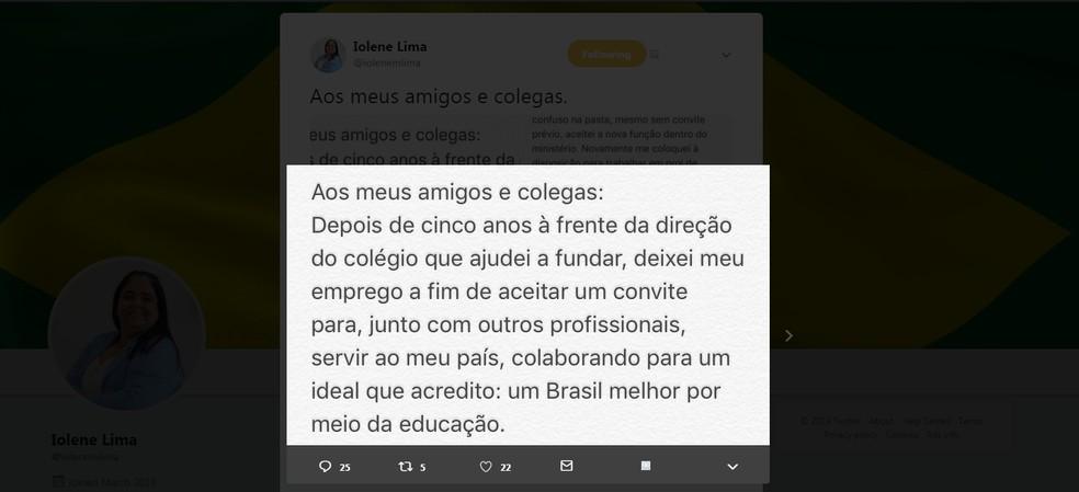 Reprodução da mensagem publicada no Twitter de Iolene Lima anunciando que não faz mais parte do MEC. — Foto: Reprodução/Twitter/@iolenemlima