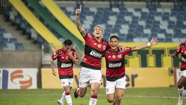 Pedro comemora gol do Flamengo contra o Cuiabá