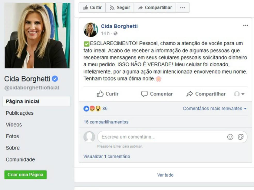 Celular da vice-governadora do Paraná foi clonado (Foto: Reprodução/Facebook)