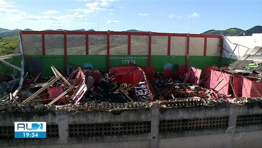 Após ginásio desabar, Prefeitura de Joaquim Gomes, AL, tem cinco dias para remanejar escolas para novo prédio