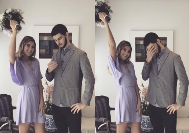 Vinícius Bonemer e namorada, Talita (Foto: Reprodução)