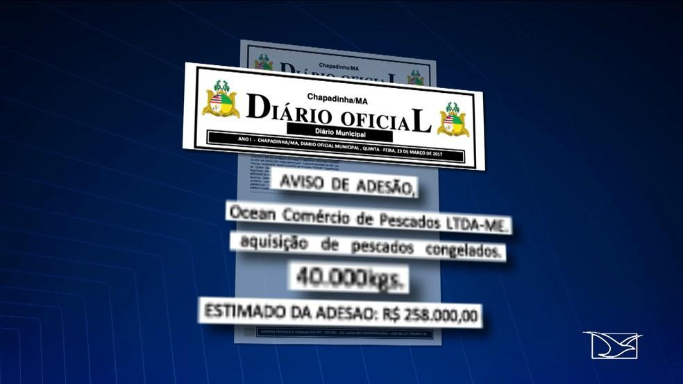 No Diário Oficial de Chapadinha, aparece uma tomada de preços para compra de 40 T de pescado, num valor total de R$ 258 mil (Foto: Reprodução TV Mirante)