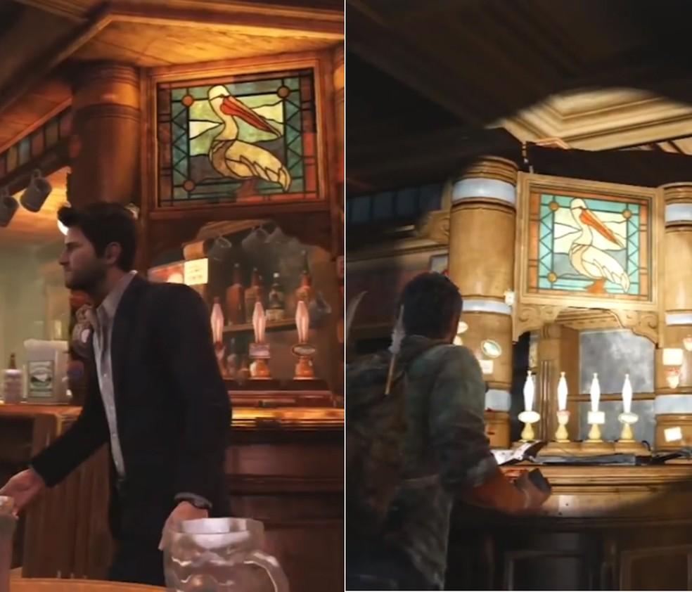 Mesmo bar é cenário de The Last of Us e Uncharted 3, dois jogos da Naughty Dog (Foto: Reprodução)