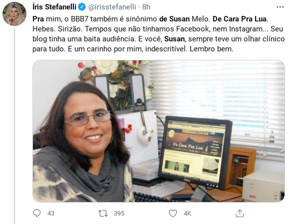 Íris Stefanelli lamenta morte de Susan Mello (Foto: Reprodução)