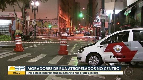Motorista foge após atropelar 3 moradores de rua no Centro de SP