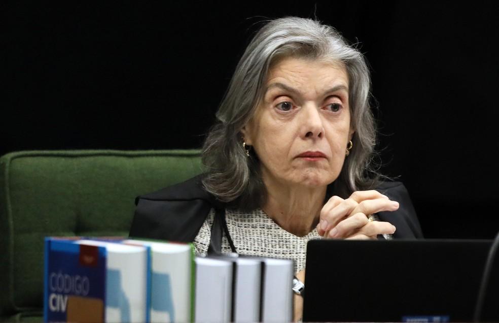 A ministra Cármen Lúcia em imagem do início do julgamento do pedido de liberdade de Lula na 2ª Turma do STF, em dezembro de 2018 — Foto: Nelson Jr./SCO/STF