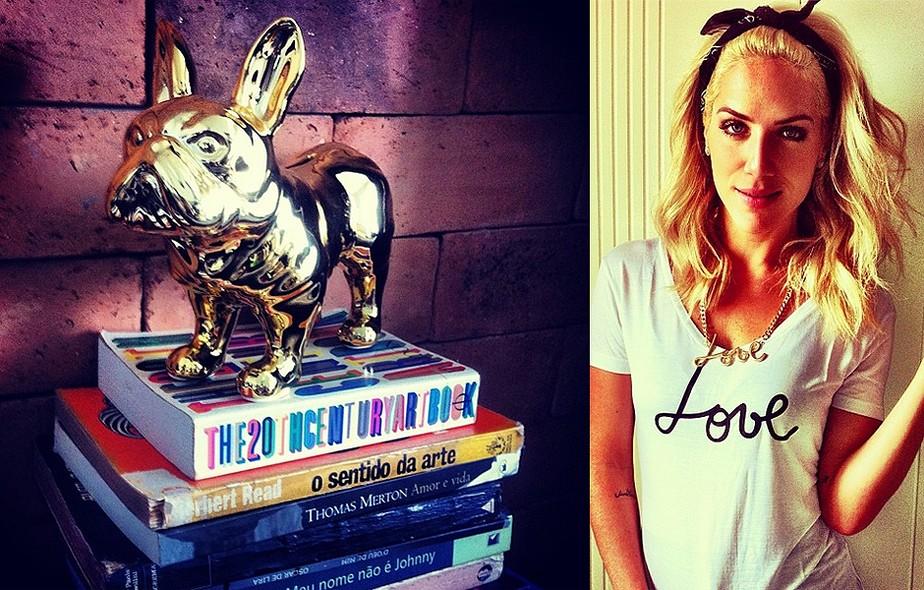 Apaixonada por cachorros, Giovanna Ewbank tem animais até na decoração. A réplica de cão dourada tem lugar de destaque em sua casa com o também ator Bruno Gagliasso. A peça fica sobre uma pilha de livros