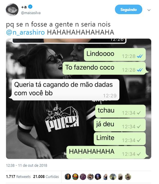 Maisa Silva compartilha conversa íntima com o namorado (Foto: Reprodução/Twitter)