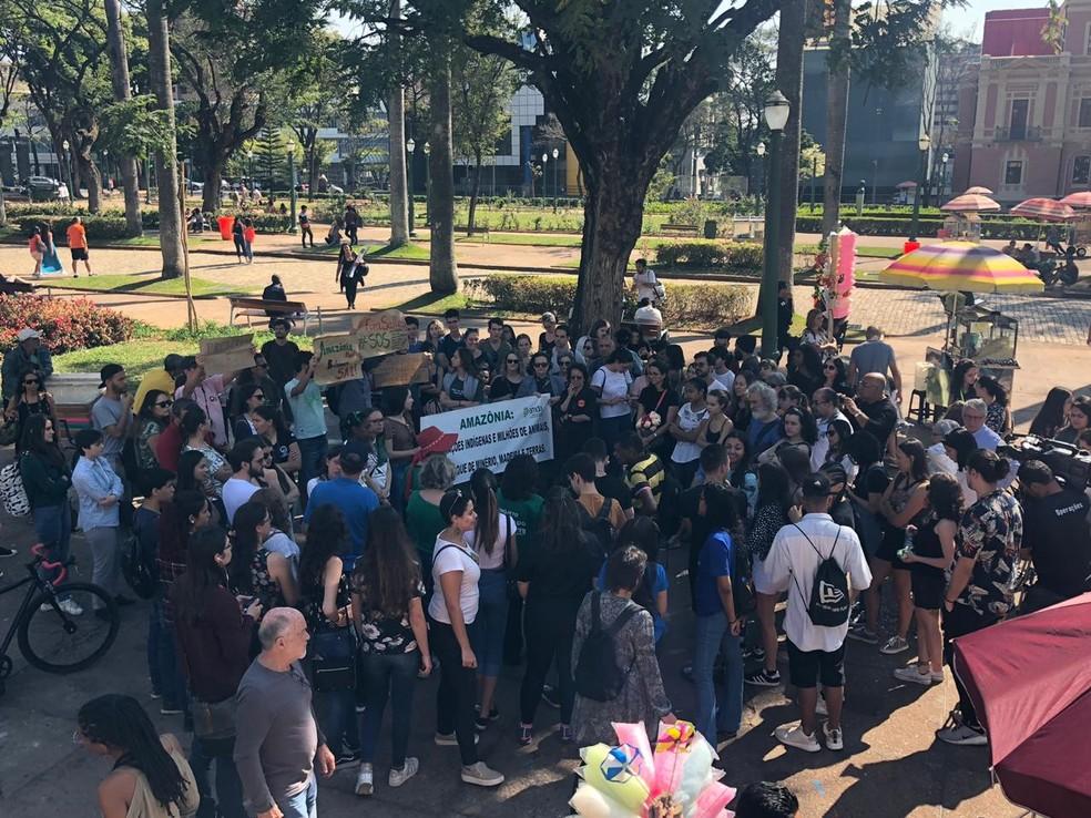 Manifestantes fazem ato em defesa da Amazônia, neste sábado (24), em Belo Horizonte — Foto: Cristiane Leite/TV Globo