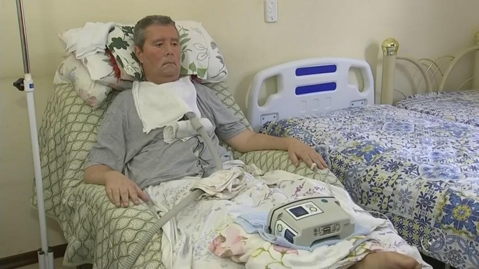 Paulo Santarém de Tietê perdeu os movimentos do corpo devido a Esclerose Lateral Amiotrófica (Foto: Reprodução/TV TEM)