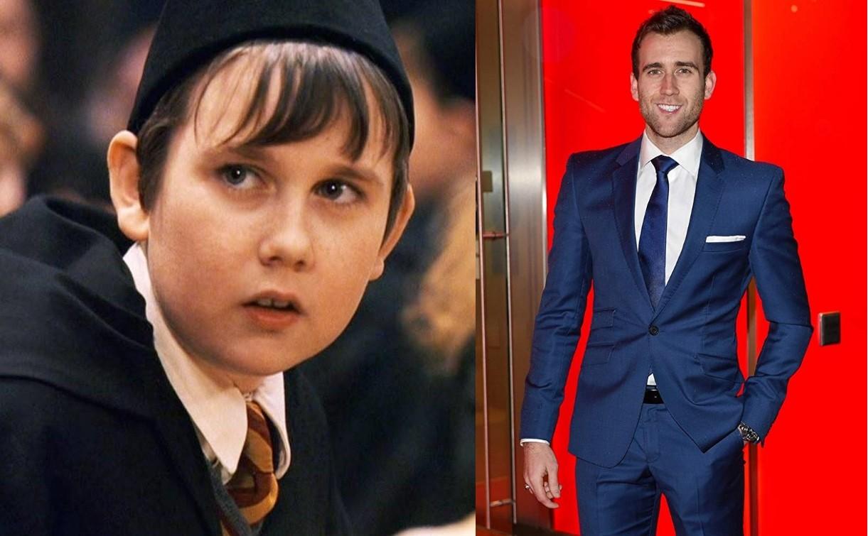 Matthew Lewis em 'Harry Potter e a Pedra Filosofal' (2001) e em evento do filme 'Como Eu Era Antes de Você' (2016) (Foto: Reprodução)