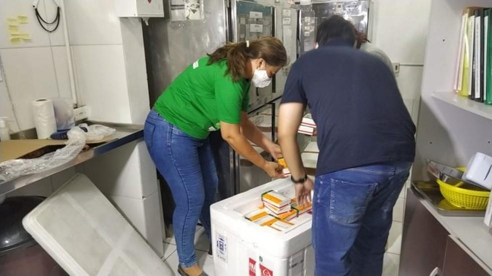 Vacinas chegaram em Mossoró, RN, nesta terça-feira (19) — Foto: Divulgação/Prefeitura de Mossoró