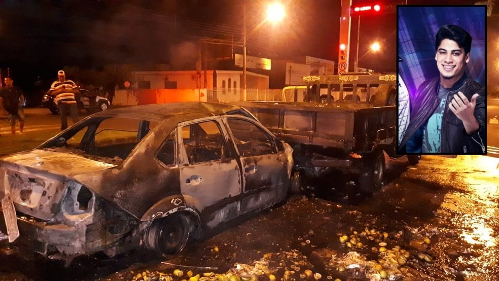 Henrique, da dupla Netto e Henrique, foi resgatado de carro antes de pegar fogo — Foto: Divulgação/Informa Mais/Divulgação