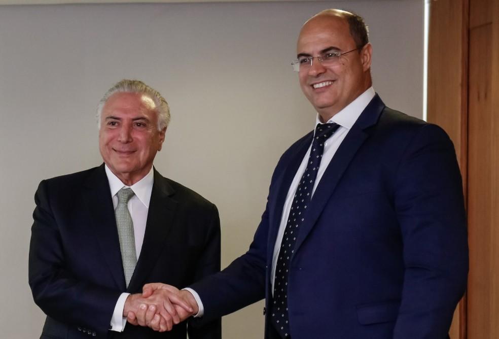 O presidente Michel Temer e o governador eleito do Rio, Wilson Witzel. — Foto: Alan Santos/PR