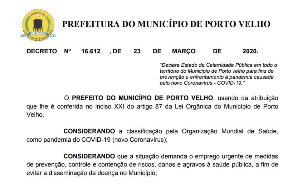 Decreto de Estado de Calamidade Pública em Porto Velho, devido pandemia de coronavírus — Foto: Prefeitura de Porto Velho/Reprodução