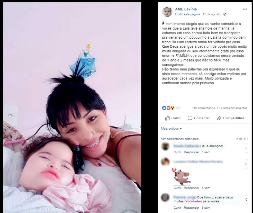 Postagem na página dedicada à bebê anunciou a alta médica no último dia 17 de agosto — Foto: Facebook/Reprodução